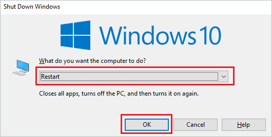 Restart Windows 10 laptop to fix laptop touchpad not working