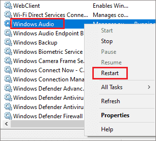 Restart Windows Audio Service to fix laptop speakers not working