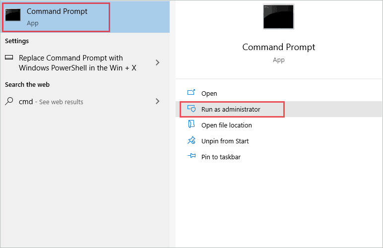 Open Command Prompt with administrative privilege