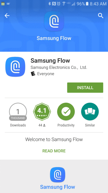 Samsung Flow in Google Play Store