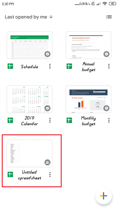 Open Google Sheets and select the document