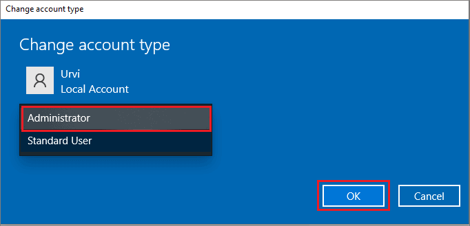Change the user account type to administrator