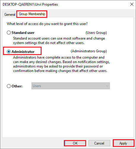 Change user account type to admin