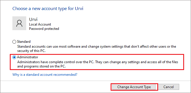 Change the account type of standard user to the administrator user
