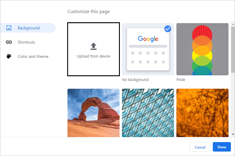 Select a background image