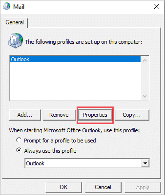 Select the correct profile to fix Outlook not opening issue