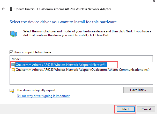 Select the generic network driver when the default gateway is not available windows 10