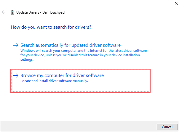 Select the driver software from computer