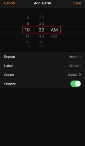 Set the time for alarm on iphone