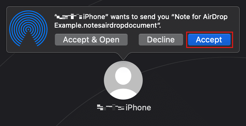Share notes to a Mac via Airdrop