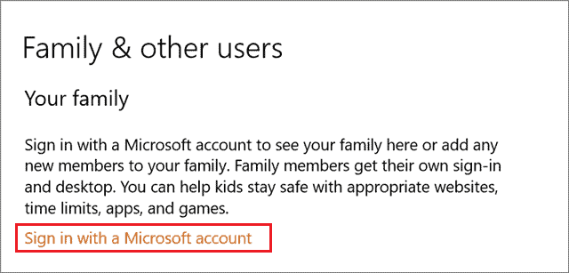 Sign in with Microsoft account Windows 10 parental control