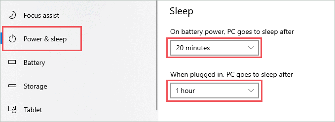 Sleep time of the system