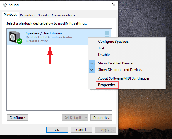 check sound device properties to fix sound not working windows 10