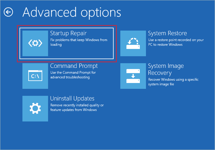 Click on Startup Repair for how to fix registry errors windows 10