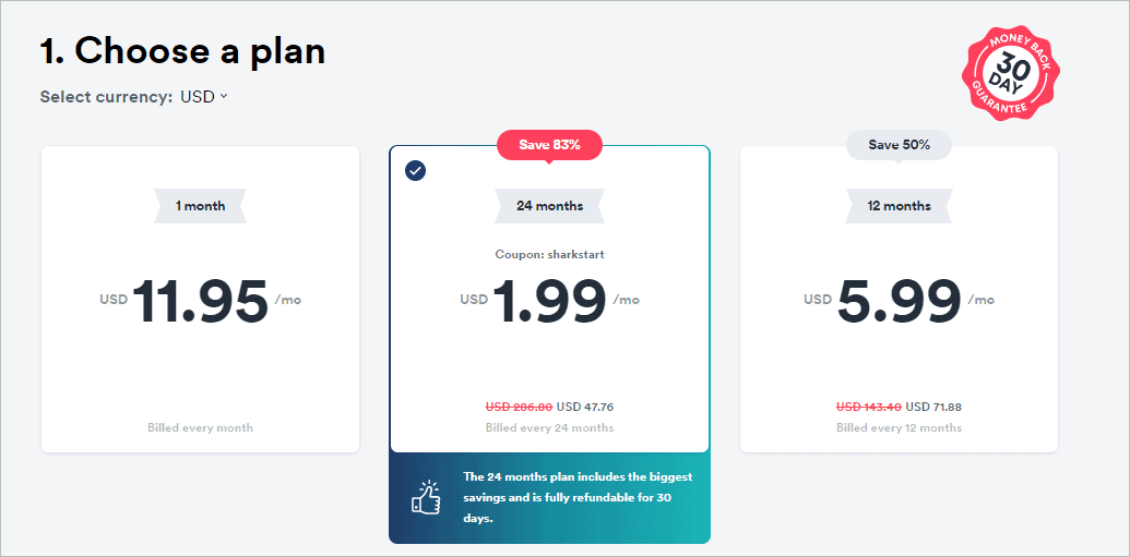 Surfshark pricing option