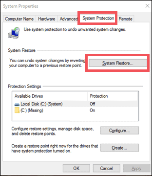 System restore to fix corrupted files