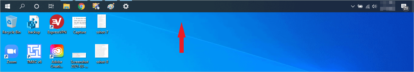 Taskbar moved to the top of the screen