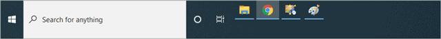 Taskbar with changed size