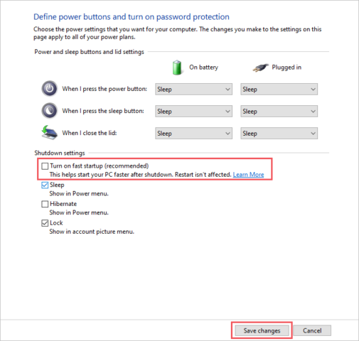 Turn off fast startup to fix bad pool header in Windows 10