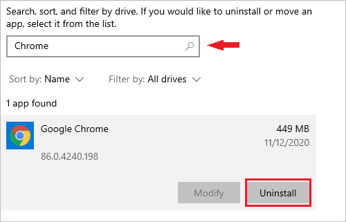 Uninstall Chrome