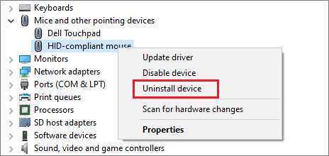 Uninstall mouse driver