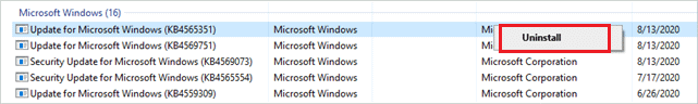 Uninstall Recent Update of Windows