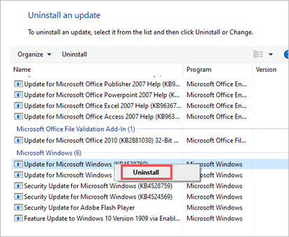 Uninstall the recent update to fix bad system config info in Windows 10