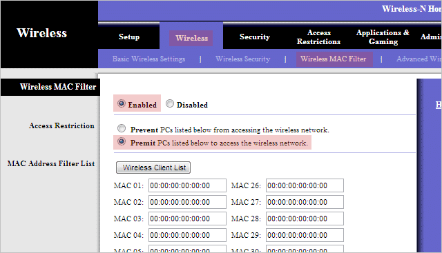 Enable-MAC-address-filtering-on-a-router