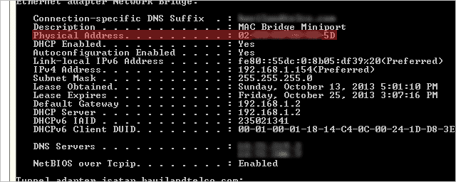 Find-a-MAC-address-from-the-command-prompt