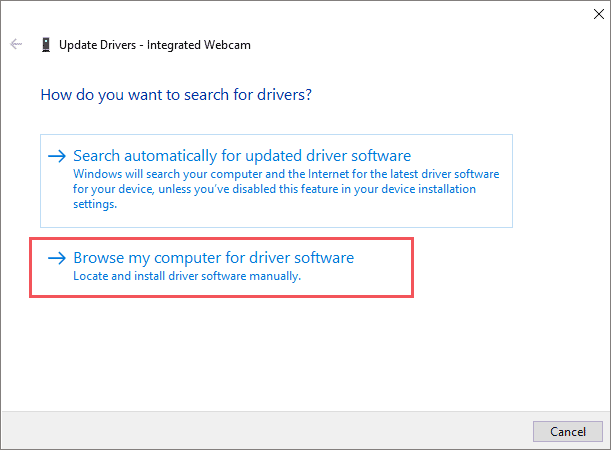 Click on Browse my computer option
