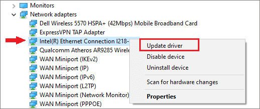 Update Ethernet drivers to fix ethernet not working windows 10