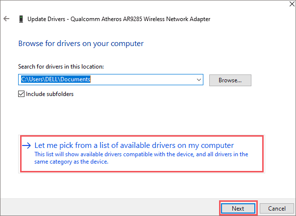 Use Generic driver from your computer