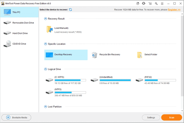 User Interface of MiniTool Power Data Recovery