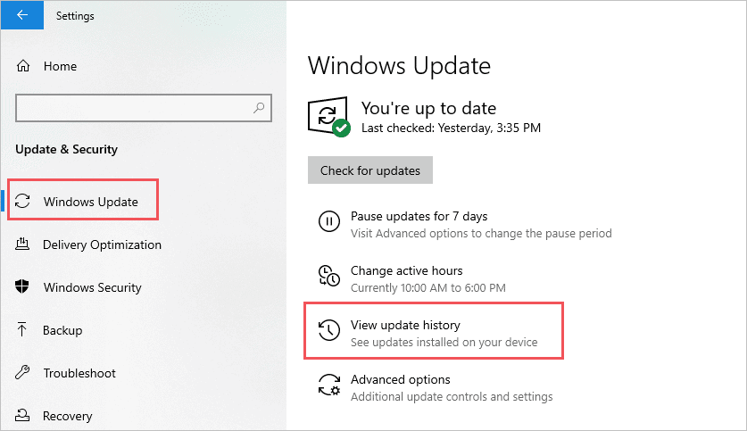 View Windows Update History