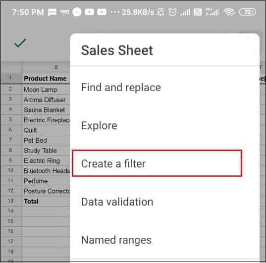 Select create a filter in Google sheets