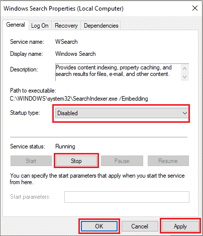 Windows Search Disabled