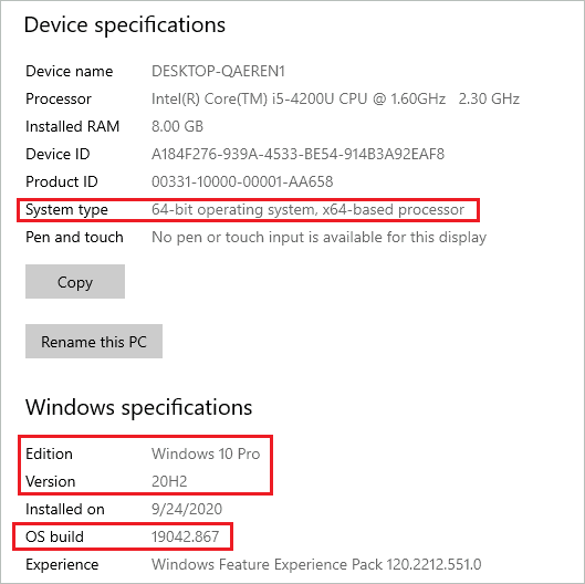 what version of windows do I have? check windows 10 details