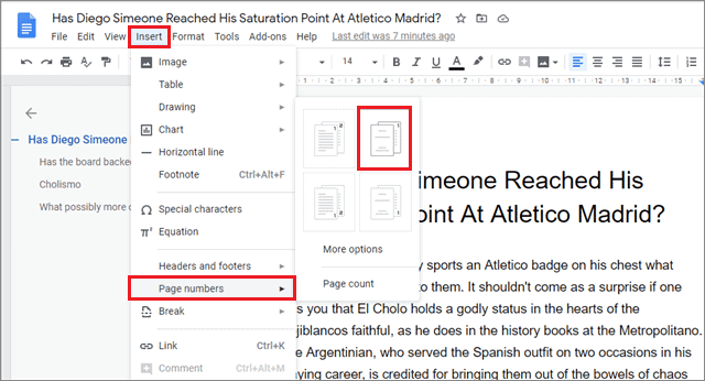 how to add page numbers in google docs from page two 2
