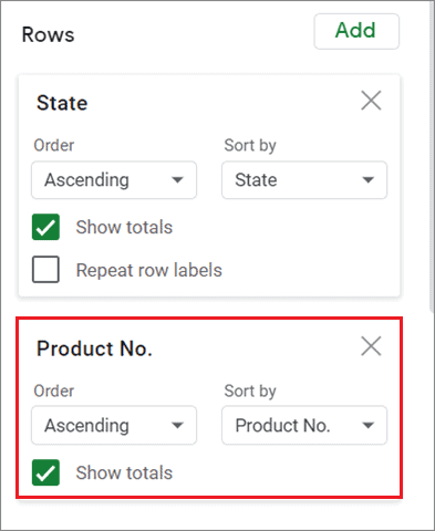 Add the product number row