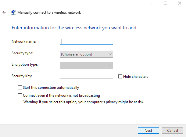 Add the information to connect to the desired wireless network