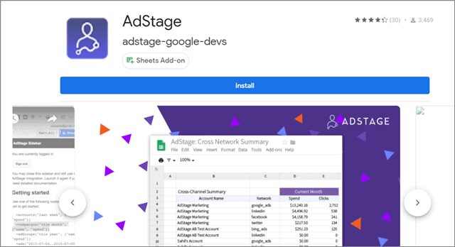 AdStage Google sheets add ons