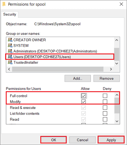 Select all checkboxes and click OK To Fix Print Spooler Keeps Stopping In Windows 10