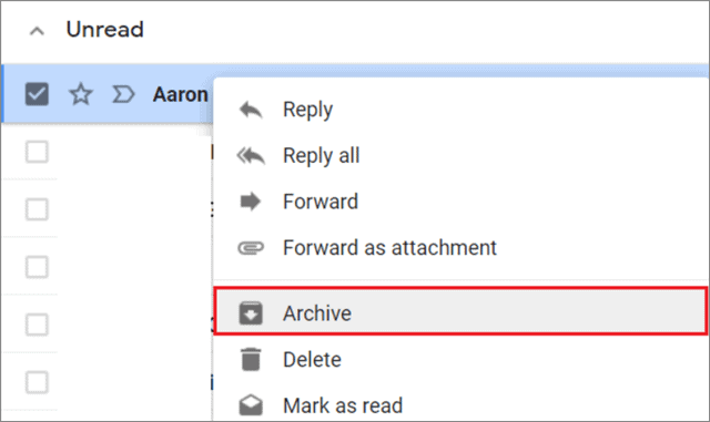 Archive an email