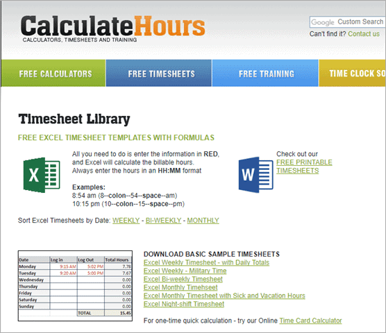 calculatehours excel templates