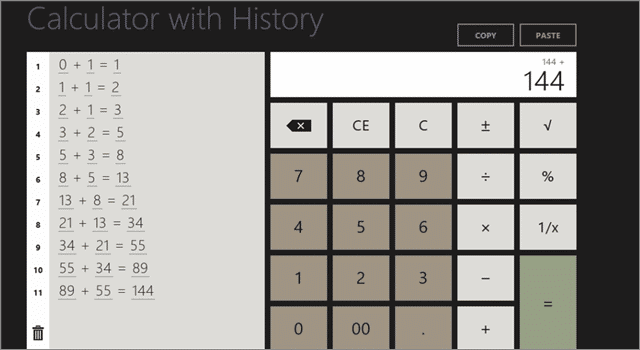 calculator app for windows 10 with history