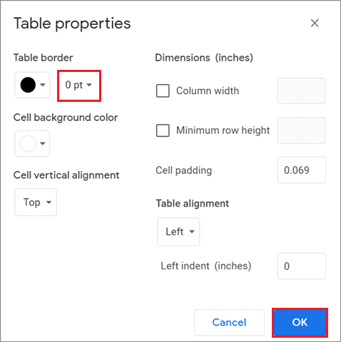 Reduce the table border size for how to delete a table in Google Docs