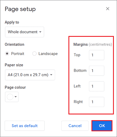 Set the margins how to delete page in Google Docs.