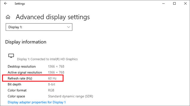 Check the Refresh Rate to fix second monitor not detected