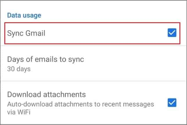 Enable the Sync Gmail checkbox