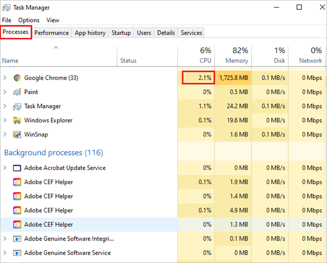 Check running processes in Task Manager to fix computer fan loud